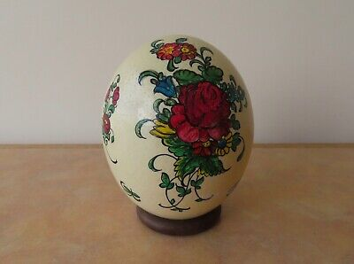 £15 • Buy Blown Ostrich Egg Shell With Handpainted Floral Design - Retro Kitsch Look