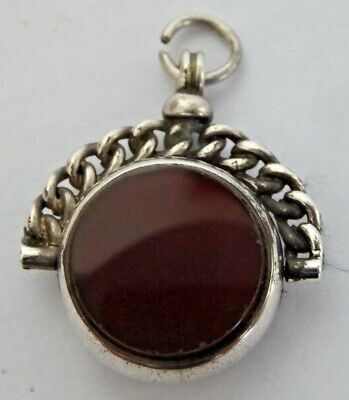 £8.50 • Buy Antique Hallmarked Silver Double Sided Agate Pocket Watch Chain Swivel Fob