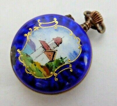 £17 • Buy Very Ornate Antique Enamelled Hand Winding Mechanical Fob Pocket Watch Ref#16
