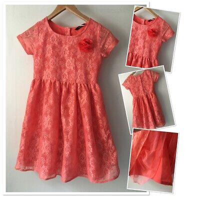 £4.99 • Buy George Girls Pretty Peach Coral Lace Lined Party Holiday Dress 9-10 Years
