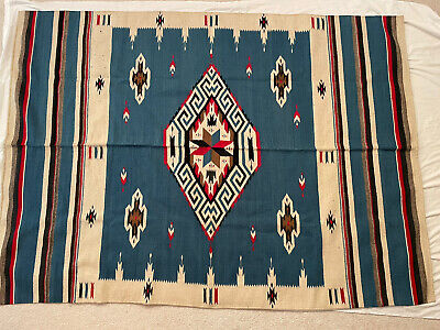 £134.57 • Buy Vintage Texcoco Mexican Double Sided Wool Blanket Rug Saddle