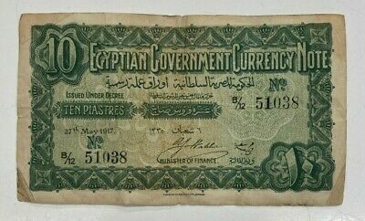 £0.99 • Buy Egypt. 10 Piastres Egyptian Government Currency Note. Rare 1917 Note. Lot: 2702.