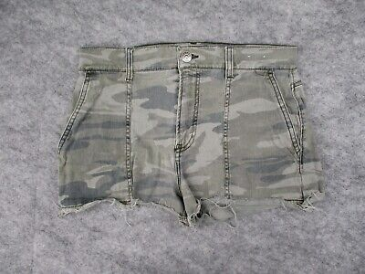 £11.70 • Buy Express Camo Shorts Womens 8 Stretch Cropped High Rise Green Camouflage Cutoff