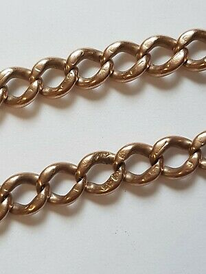 £299.99 • Buy Mens 9ct Rose Gold Curb Link Albert Watch Chain Bracelet - No Clasp 8.25