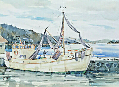 AU75.47 • Buy Fishing Boat At Jetty Swedish Harbour R.a.sweet Original Vintage Wcolour 1968