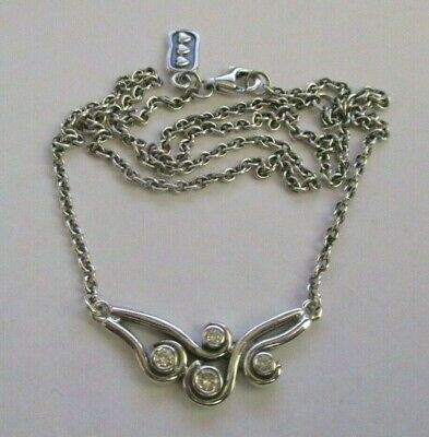 AU115 • Buy PANDORA - Ocean Waves / Swirl Necklace / Chain With Clear CZ Stones  ** RARE **