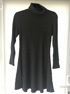 £0.99 • Buy Size 14 New Look Grey Ribbed Polo Neck Knitted Long Sleeve Dress