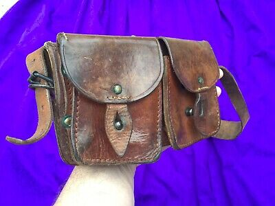 £35 • Buy WW2  Army Leather Shoulder Bag  Military Double Sided 4 Pockets