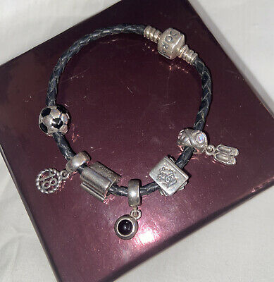 AU45.16 • Buy Pandora Braided Leather Bracelet With 6 Authentic 925 Charms Good Luck 18 Study