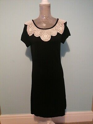 £4.50 • Buy Monsoon Black Knitted Dress Size 12 With Ivory Lace Shoulder Detail WOOL MIX