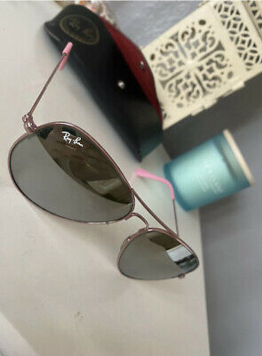 £45 • Buy Ray Ban Aviator Pink Classic Mirrored Lens Sunglasses With Case Rare