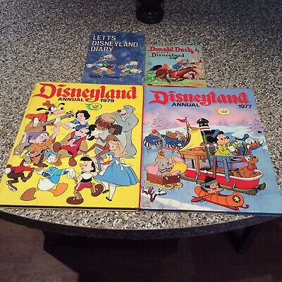 £3.25 • Buy Disneyland Annuals 1975 & 1977, Donald Duck Goes To Disney & Letts Diary Books