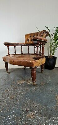 £99.99 • Buy Stunning Leather Chesterfield Captains Desk Library Chair On Castors Not A Repro