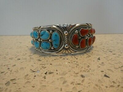 £100 • Buy Native American Turquoise And Coral Bracelet