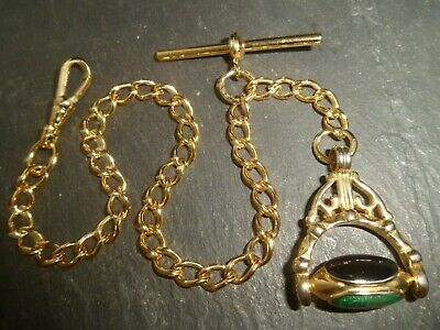 £4.70 • Buy Beautiful Vintage Gold Plated Albert Pocket Watch Chain + 3 Stone Spinner Fob