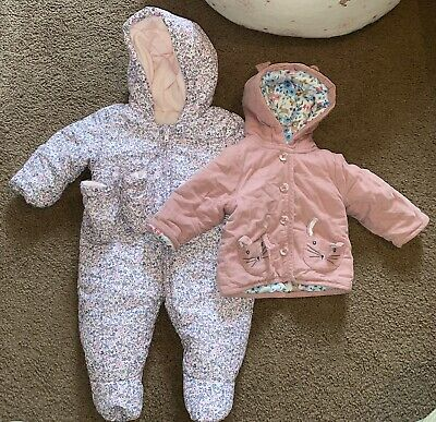 £0.99 • Buy Baby Girls 0-3 Months Winter Fleece Lined All In One Pram Suit And Jacket
