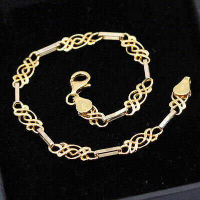 £38 • Buy Vintage Solid 9ct Yellow And White Gold Fancy Link Bracelet 7.5''