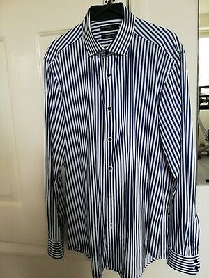 £1.10 • Buy M&S Mens Navy And White Striped Formal Shirt. 15  Supima Cotton Tailored Fit.