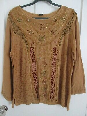 £5 • Buy Mustard Yellow Indian Embroidered And Sequinned Tunic Top Free Size
