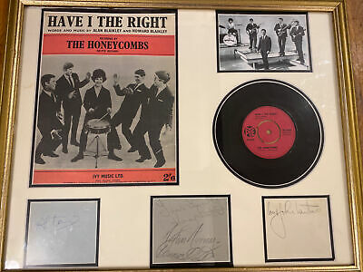 £69.99 • Buy The Honeycombs 'Have I The Right' Single, Signed And Framed 1960's Pop Music