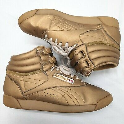 £47.53 • Buy VINTAGE 80S 90S REEBOK High Tops CLASSICS Freestyle Gold Women's 8