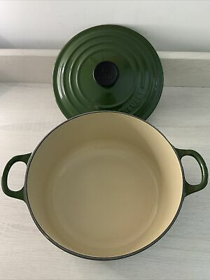 £64.99 • Buy Le Creuset Vintage 20cm Lidded Cast Iron Casserole Green Round Barely Used