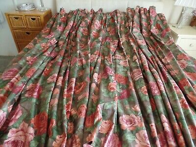 £39.99 • Buy Mtm Sanderson Sutherland Lined Floral Curtains And Pelmet Pink Roses