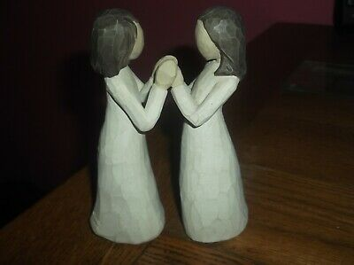 £9.99 • Buy Willow Tree Figurines 2 Sisters By Heart Open & Closed Hands