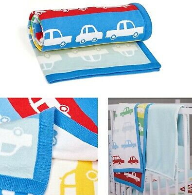 £10.99 • Buy Mothercare Baby Boys Knitted Blanket Rainbow Cars Bedding Cotton Shawl Gift NEW