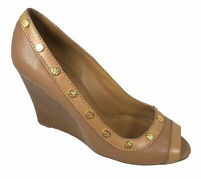 £51.68 • Buy Tory Burch Reva Open Toe Brown Leather Wedge Pumps Sandals Size 9.5 M
