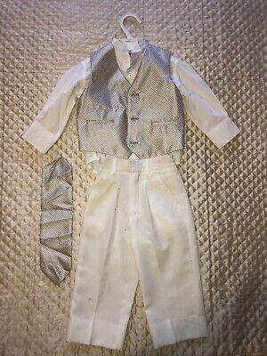 £20 • Buy Baby Boys Christening Suit 12-18 Months Ivory Gold Waistcoat Shirt Trousers