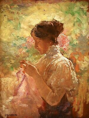£94 • Buy Georges Roussin (1854-1941) Signed French Impressionist Oil Panel Girl Sewing