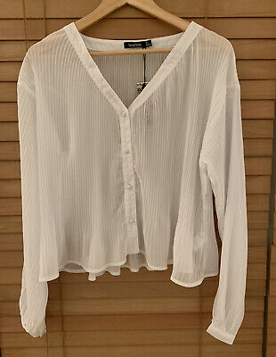 £0.99 • Buy Boohoo Pleated Blouse White Size 6 BNWT RRP £18