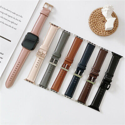 AU19.99 • Buy Genuine Leather IWatch Band For Apple Watch Band Series 7 SE 6 5 4 3 2 1 40 44mm