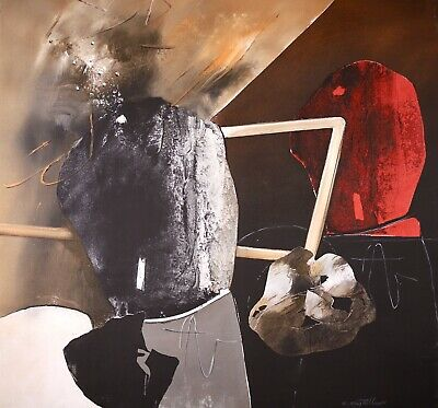 £77 • Buy Carmelo Castellano (1925-2012) Signed Huge French Abstract Oil Canvas - Parcours