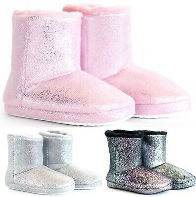 £9.99 • Buy Womens Bootee Winter Ankle Ladies Warm Bootie Glitter Boots Slippers Size 3-8 Uk