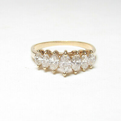 £95.67 • Buy Estate 14K Yellow Gold Seven Marquise Cut Diamond Cluster Ring 1.00 Ct