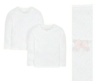 £6.95 • Buy MOTHERCARE Girls Long Sleeve Vests 2 Pack White Thermal Layer Pointelle Hearts
