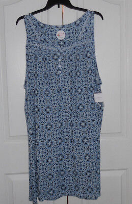 £18.11 • Buy Croft And Barrow Nightgown Soft Rayon Blend Sleeveless Blue Evette Plus Size 4X