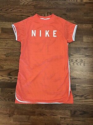 AU41.40 • Buy Nike Womens Dress Mesh Spell Out Short Sleeve Coral Orange  Size XS