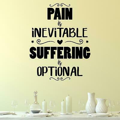 £13.95 • Buy Pain Is Inevitable Suffering Is Optional Wall Sticker Decal  Quote Motivational