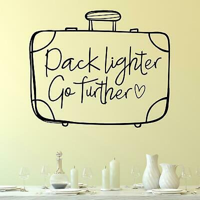 £16.95 • Buy Pack Lighter Go Further With Suitcase Wall Sticker Decal  Quote Travel Holiday