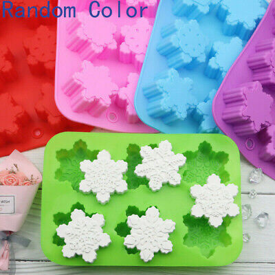 £6.60 • Buy Snowflake Silicone Mould X 6 Cell Christmas Cake Chocolate Candle Soap Decorate
