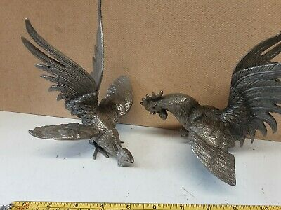 £14.99 • Buy Pewter Menu Name Card Holders 2x Cockerells Roosters Chickens Table DecorationT1