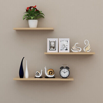 £8.59 • Buy Set Of 3 Floating Wall Shelves Hanging Storage Display Shelf Wall Mounted Décor