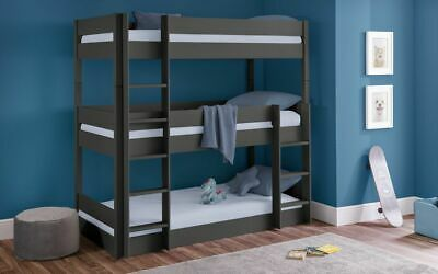 £539.99 • Buy Trio Bunk Bed Frame In Anthracite Solid Pine 3ft Single 2 Man Delivery