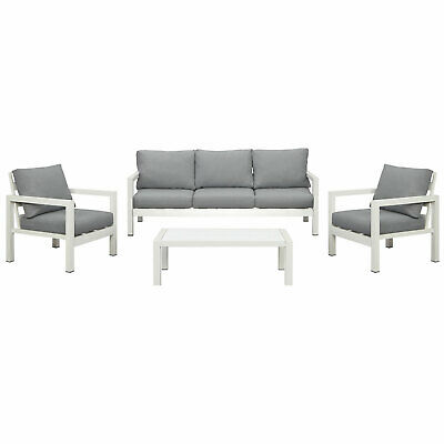 AU1249.99 • Buy New White Outdoor Aluminium Sofa Lounge Setting Furniture Set Arms Chairs Table