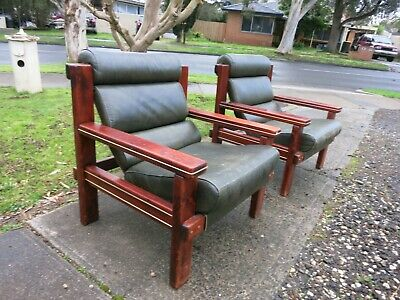 AU250 • Buy Pair Of Mid Century Leather Arm Chairs Sw Furniture