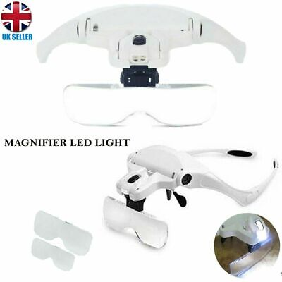 £11.30 • Buy Magnifying Glass Headset LED Light Head Headband Magnifier 5 Lens Magnification