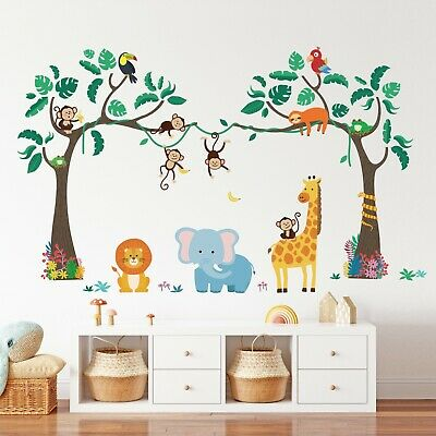 £12.95 • Buy Decowall SG-2112 Jungle Tree And Animals Wall Stickers For Kids Bedroom Playroom